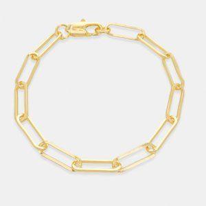 NEW Trendy 14K Gold Paperclip Chain Links Bracelet
